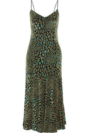 """CAROLINE CONSTAS فستان متوسط الطول """"كاي"""" من الجيرسي المرن مخيط بأسلوب فيل كوبيه مع نقوش الفهد لون ميتاليك"""