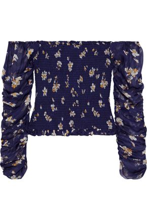 CAROLINE CONSTAS Gemma off-the-shoulder shirred floral-print silk-chiffon top