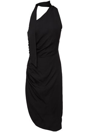 MILLY Coleen tie-neck one-shoulder silk-blend dress