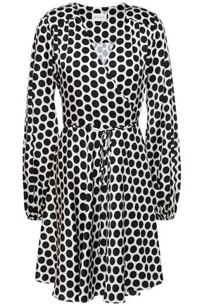 MILLY Siena polka-dot satin-twill mini wrap dress