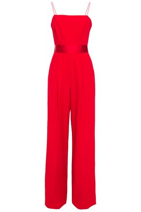 MILLY Cutout satin-trimmed stretch-cady wide-leg jumpsuit