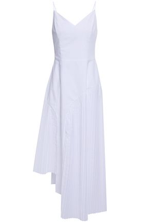EACH X OTHER Asymmetric pleated poplin midi dress