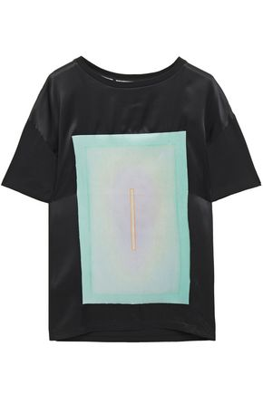 EACH X OTHER Satin-paneled printed cotton-jersey T-shirt