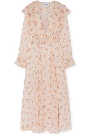 WE ARE LEONE Marlowe ruffled floral-print silk-chiffon robe