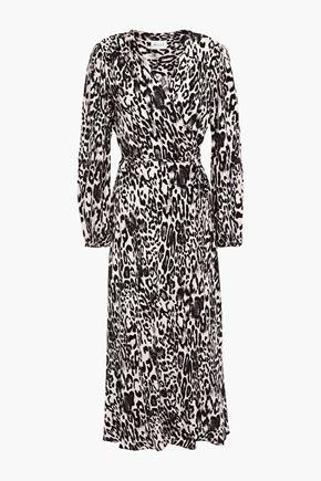 MILLY Gathered leopard-jacquard midi wrap dress