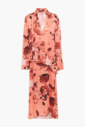 MOTHER OF PEARL Ruffled floral-print satin midi dress