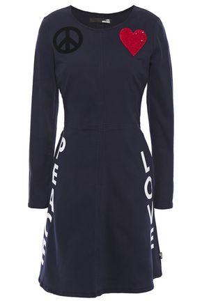 LOVE MOSCHINO Embellished printed cotton-blend twill mini dress