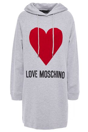 LOVE MOSCHINO Flocked French cotton-terry hooded mini dress