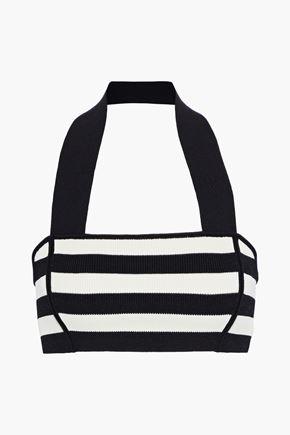 KHAITE Janet cropped striped stretch-knit halterneck top
