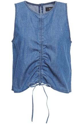 3x1 Corin ruched cotton-chambray top