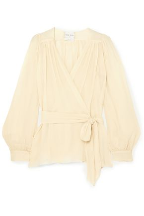 FORTE_FORTE Silk-crepon wrap blouse