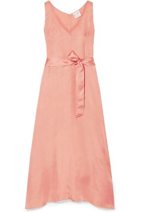FORTE_FORTE Belted washed-satin midi dress