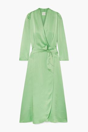 FORTE_FORTE Hammered silk-satin wrap dress