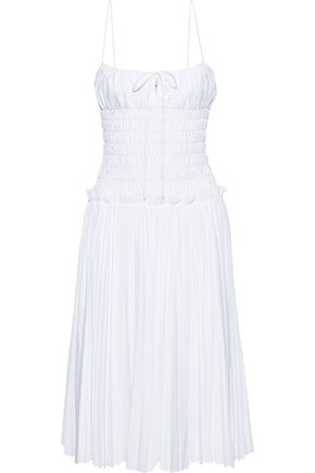 KHAITE Delphine shirred pleated cotton-poplin dress