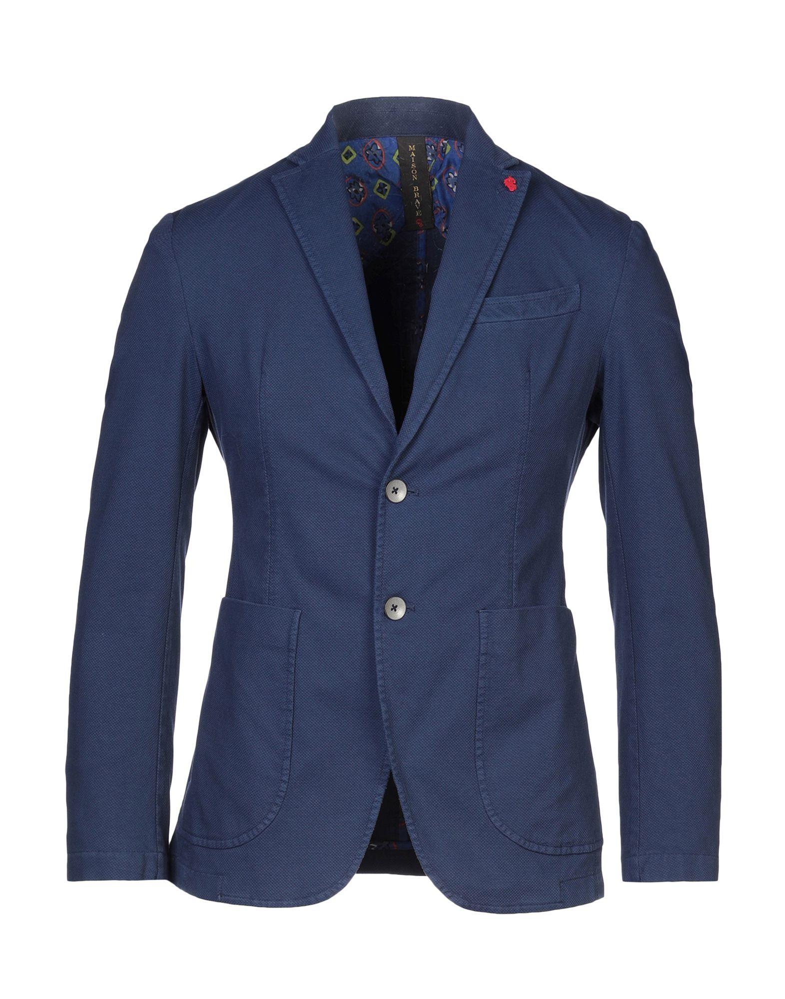 《セール開催中》MAISON BRAVE メンズ テーラードジャケット ダークブルー 44 コットン 98% / ポリウレタン 2%