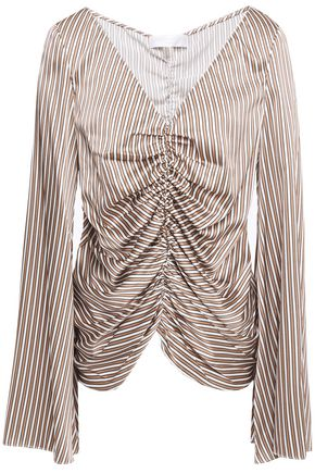 CAROLINE CONSTAS Charli ruched striped stretch-silk satin blouse