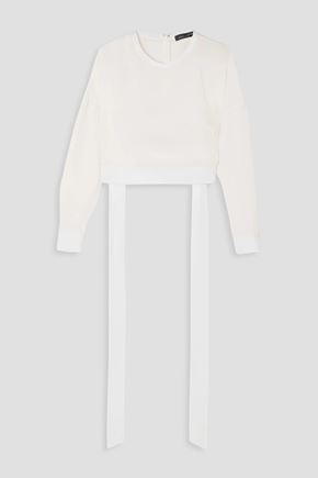 SALLY LAPOINTE Cropped tie-detailed cupro sweatshirt