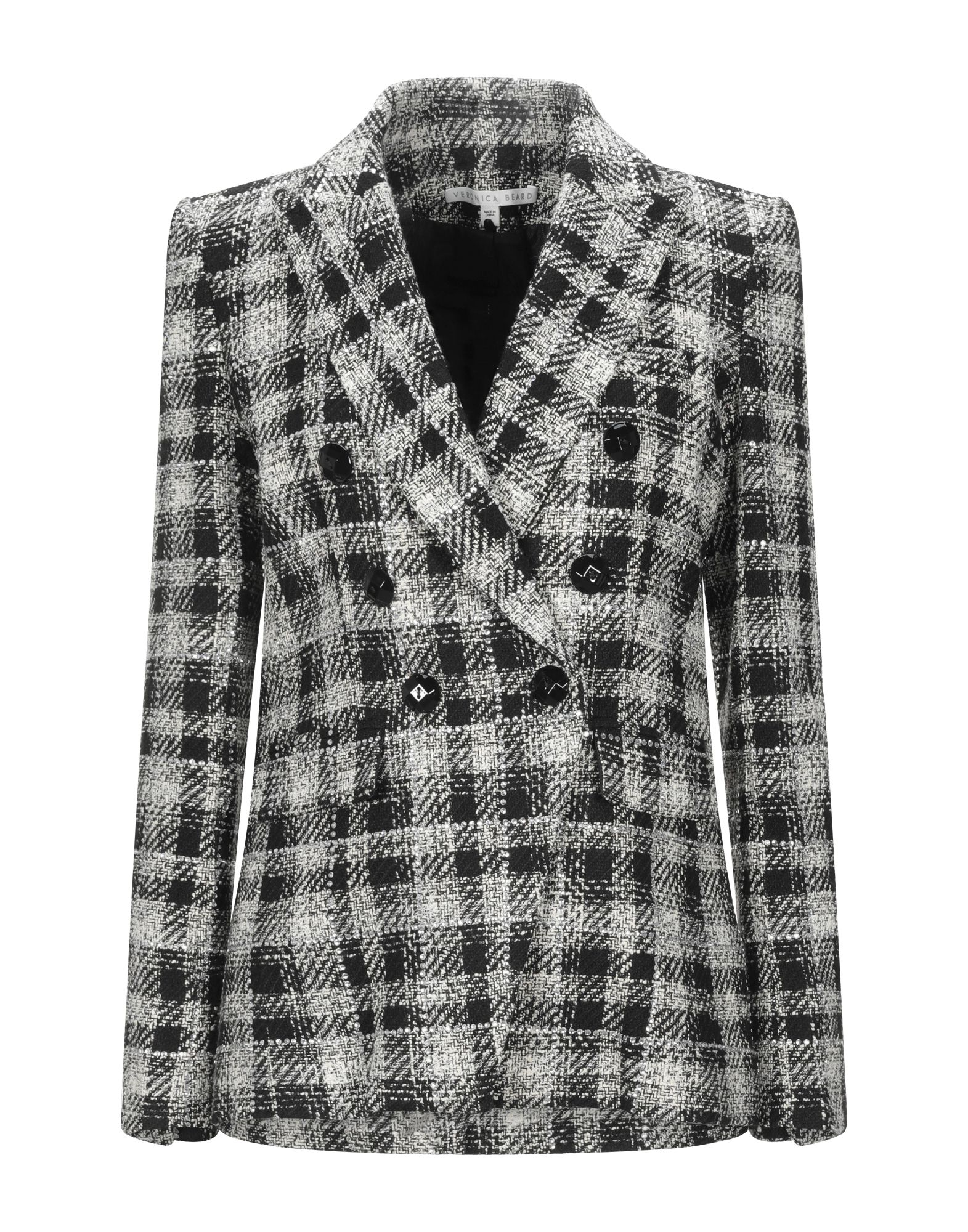 VERONICA BEARD Suit jackets. tweed, rhinestones, tartan plaid, multipockets, single chest pocket, button closing, lapel collar, double-breasted, long sleeves, fully lined. 41% Cotton, 32% Polyester, 17% Acrylic, 9% Viscose, 1% Elastane
