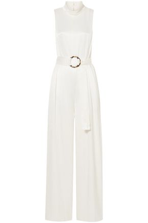 SALLY LAPOINTE Belted crinkled-satin jumpsuit