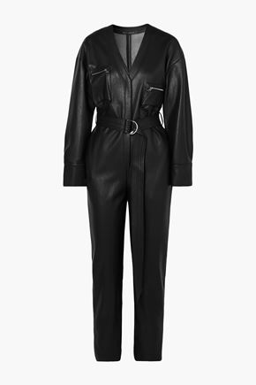 SALLY LAPOINTE جمب سوت من الجلد الاصطناعي مزوّد بحزام