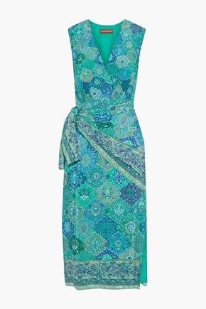 ALTUZARRA Sade wrap-effect printed silk crepe de chine midi dress