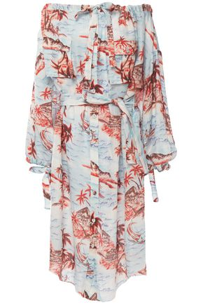 ZIMMERMANN Eyes on Summer off-the-shoulder printed cotton and linen-blend dress
