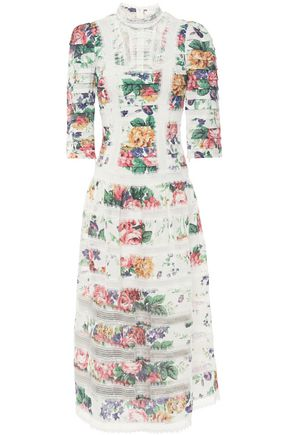ZIMMERMANN Allia pintucked lace-paneled floral-print linen midi dress