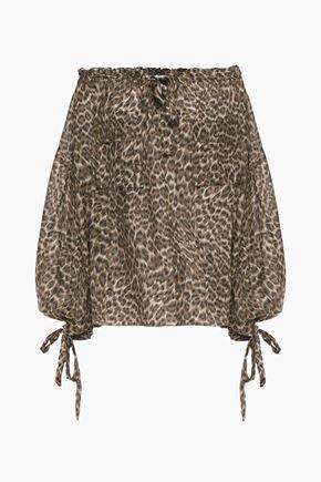 ZIMMERMANN Suraya off-the-shoulder leopard-print silk-charmeuse blouse