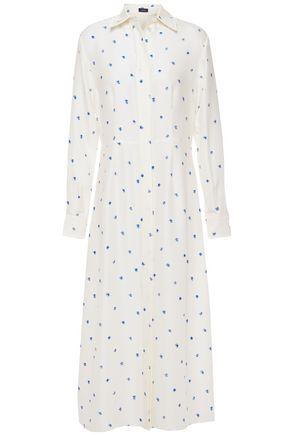 JOSEPH فستان متوسط الطول على شكل قميص من الحرير المضلع المطبع برسومات