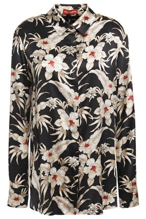 ALTUZARRA Floral-print stretch-silk satin shirt