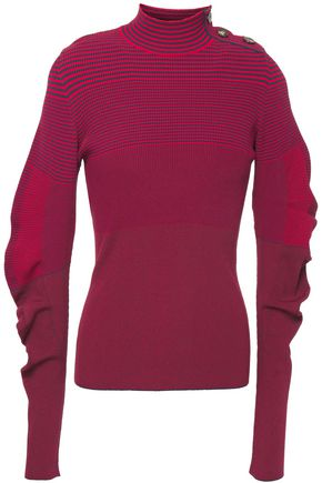 CEDRIC CHARLIER Ruched striped stretch-knit sweater