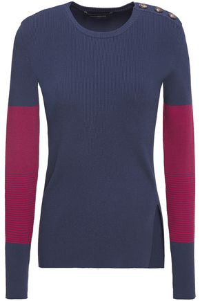 CEDRIC CHARLIER Button-detailed striped ribbed-knit sweater