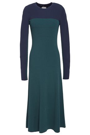 CEDRIC CHARLIER Striped ribbed-knit midi dress