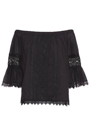 CHARO RUIZ IBIZA Gaya off-the-shoulder crocheted lace-trimmed cotton-blend voile blouse