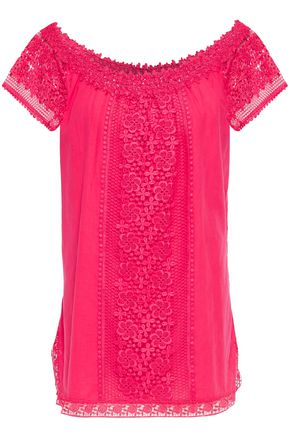 CHARO RUIZ IBIZA Off-the-shoulder crocheted lace-paneled cotton-blend gauze top