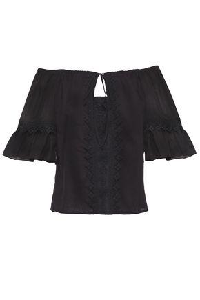 CHARO RUIZ IBIZA Off-the-shoulder lace-trimmed cotton-blend mousseline blouse
