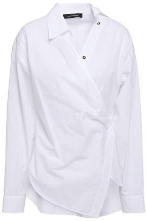 CEDRIC CHARLIER Asymmetric cotton-poplin wrap shirt