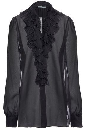 ALBERTA FERRETTI Ruffled silk-chiffon shirt
