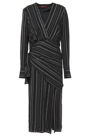 ALTUZARRA Draped metallic silk-blend crepe de chine midi dress