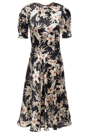 ALTUZARRA Gathered floral-print stretch-silk satin midi dress