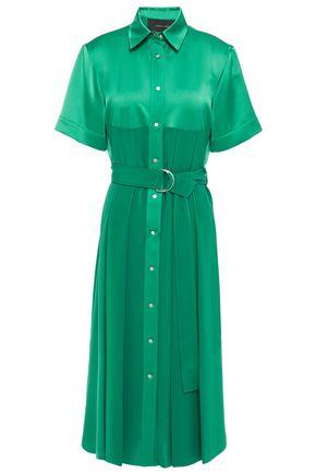 CEDRIC CHARLIER Belted paneled satin-crepe midi dress