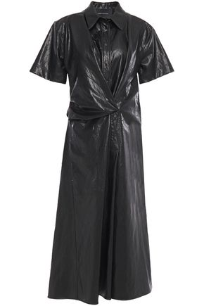 CEDRIC CHARLIER Draped faux cracked-leather midi dress