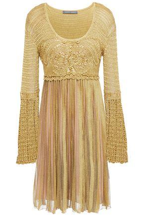 ALBERTA FERRETTI Pleated metallic crochet-knit dress