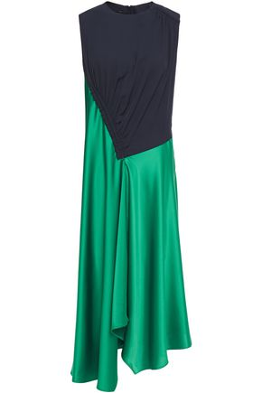 CEDRIC CHARLIER Asymmetric two-tone twill and satin-crepe dress