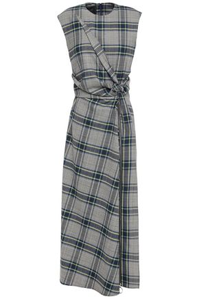 CEDRIC CHARLIER Knotted checked woven midi dress