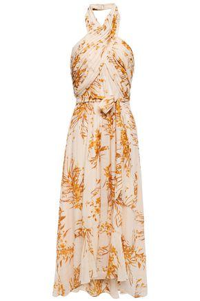 """JOIE فستان متوسط الطول بحمالة عنق """"آرني"""" من الشيفون المصنوع من مزيج الحرير المطبع بالورود"""
