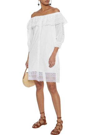 Charo Ruiz ADELA OFF-THE-SHOULDER CROCHETED LACE-PANELED COTTON-BLEND VOILE DRESS