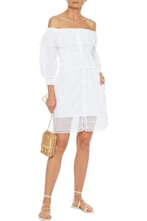 Charo Ruiz ADELA OFF-THE-SHOULDER CROCHETED LACE-PANELED COTTON-BLEND MINI DRESS