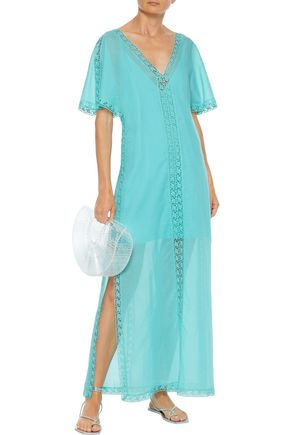 Charo Ruiz CROCHETED LACE-TRIMMED COTTON-BLEND VOILE MAXI DRESS