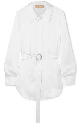 MATÉRIEL Belted silk-satin shirt